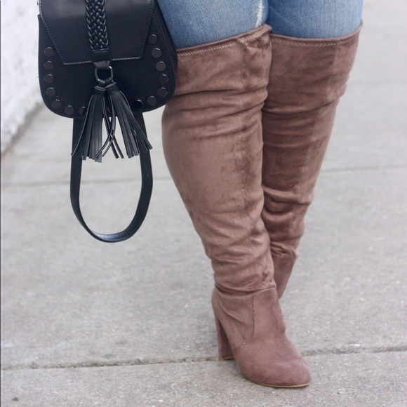 undefeated x sneakers for cheap cozy fresh Taupe Wide Calf Thigh High Boots (Price Firm) NWT